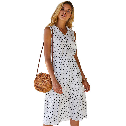 White Polka Dot Sleeveless Fashion Dress TQK310470-1