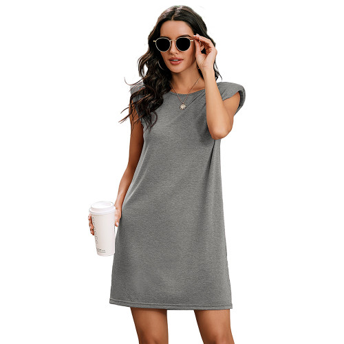 Light Gray Sleeveless Pocketed Tank Dress TQK310467-25