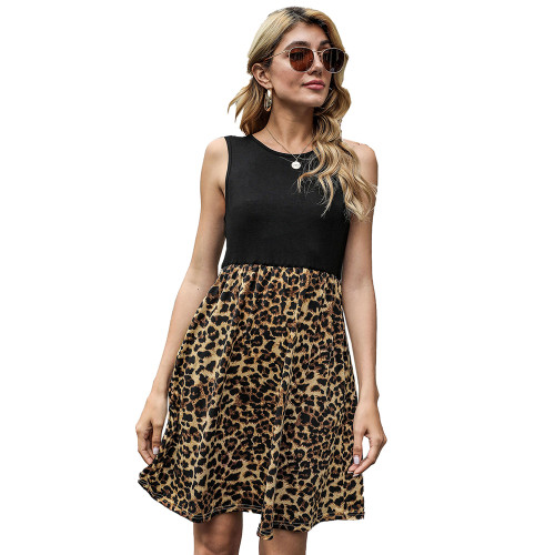 Black Splice Leopard Pocketed Sleeveless Dress TQK310468-2