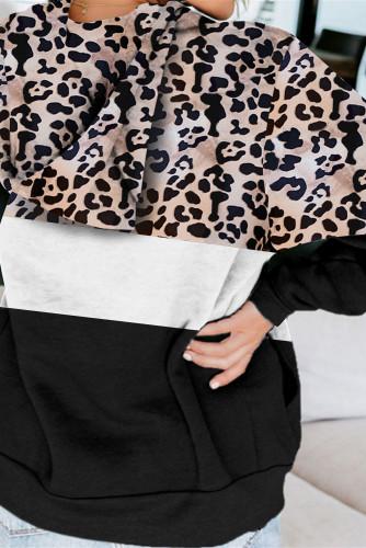 Black Leopard Splicing Kangaroo Pocket Drawstring Hoodie LC2534388-2