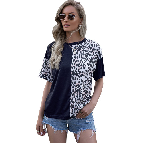 Navy Blue Splice Leopard Short Sleeve Tops TQK210600-34