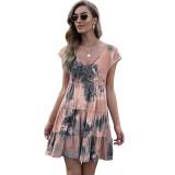 Orange Loose Style Tie Dye Print Summer Dress TQK310469-14