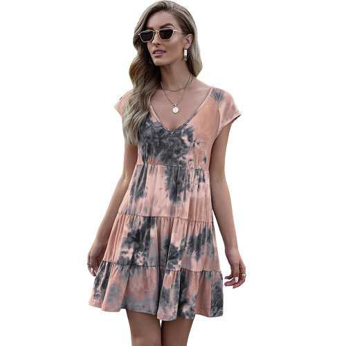 Orange Loose Style Tie Dye Print Summer Dress TQK310469-14