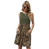 Army Green Splice Leopard Pocketed Sleeveless Dress TQK310468-27
