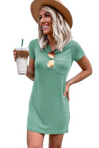 Green Crew Neck Short Sleeve Pocket Casual Mini Dress LC223725-9