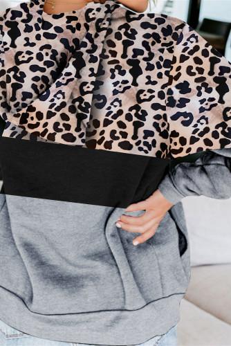 Gray Leopard Splicing Kangaroo Pocket Drawstring Hoodie LC2534388-11