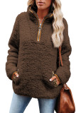 Brown Pocketed Sherpa Pullover Sweatshirt LC2534310-17