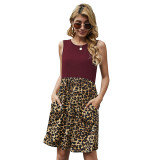 Wine Red Splice Leopard Pocketed Sleeveless Dress TQK310468-103