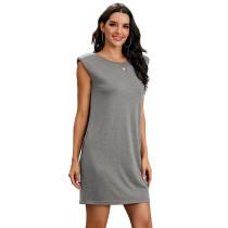 Light Gray Sleeveless Pocketed Tank Dress TQK310467-25