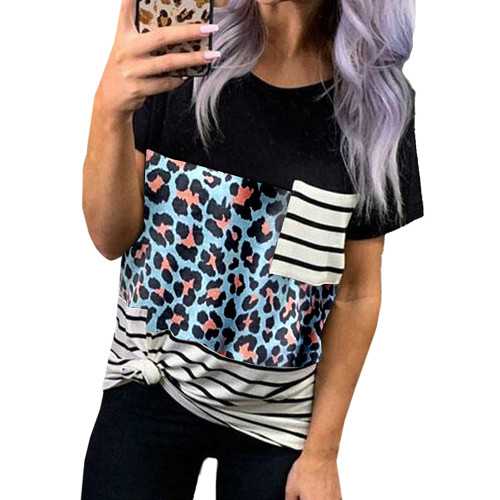 Blue Leopard Print Splice Striped Pocket T-Shirt TQK210601-5