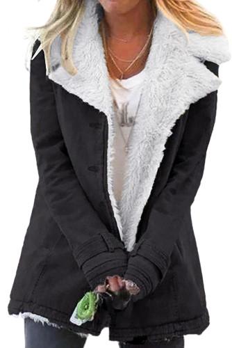 Black Lapel Collar All Denim Wool Warm Coat LC851780-2