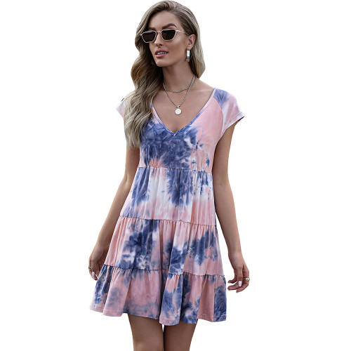 Pink Loose Style Tie Dye Print Summer Dress TQK310469-10