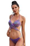 Purple Halter Sequin Splicing Rhinestone Bandage Bikini Set LC412246-8
