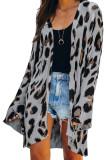 Gray Lightweight Knit Leopard Cardigan LC271017-11