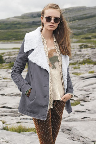 Gray Lapel Collar All Denim Wool Warm Coat LC851780-11