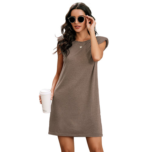 Khaki Sleeveless Pocketed Tank Dress TQK310467-21