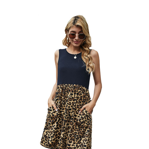 Navy Blue Splice Leopard Pocketed Sleeveless Dress TQK310468-34