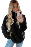 Black Pocketed Sherpa Pullover Sweatshirt LC2534310-2