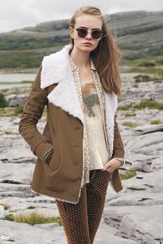 Khaki Lapel Collar All Denim Wool Warm Coat LC851780-16