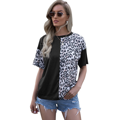 Black Splice Leopard Short Sleeve Tops TQK210600-2