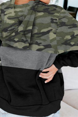 Green Camouflage Splicing Kangaroo Pocket Drawstring Hoodie LC2534388-9