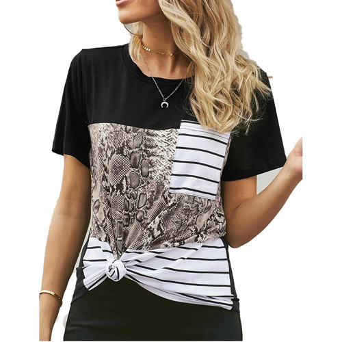 Snake Print Splice Striped Pocket T-Shirt TQK210601-21