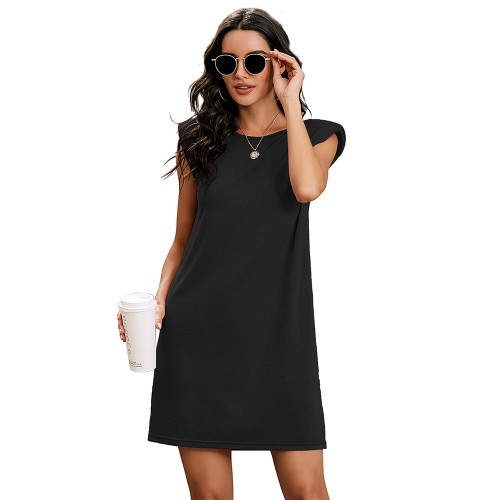 Black Sleeveless Pocketed Tank Dress TQK310467-2