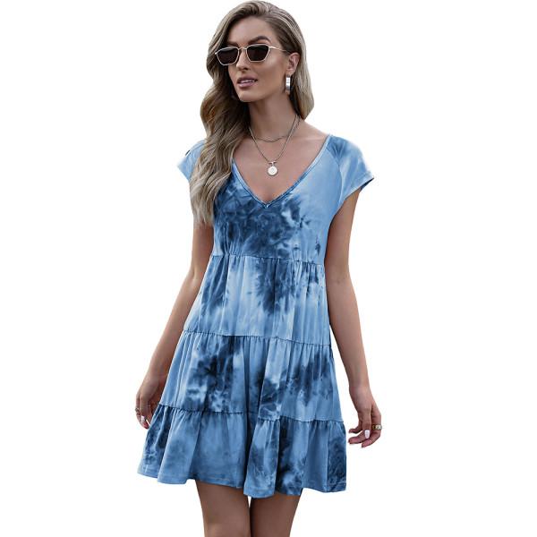 Blue Loose Style Tie Dye Print Summer Dress TQK310469-5