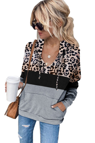 Gray Leopard Splicing Kangaroo Pocket Drawstring Hoodie LC2534388-11