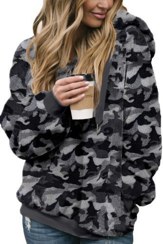 Gray Camo Print Warm Furry Pullover Hoodie LC2532008-11