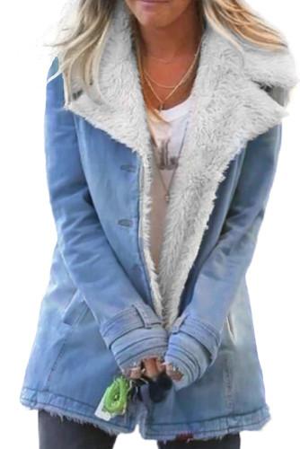 Sky Blue Lapel Collar All Denim Wool Warm Coat LC851780-4