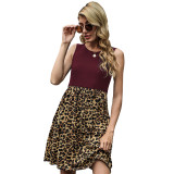 Wine Red Splice Leopard Pocketed Sleeveless Dress TQK310468-103