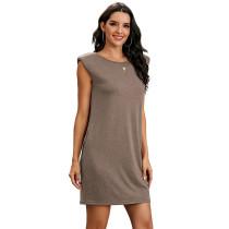 Khaki Sleeveless Pocketed Tank Dress TQK310467-21