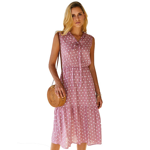 Pink Polka Dot Sleeveless Fashion Dress TQK310470-10