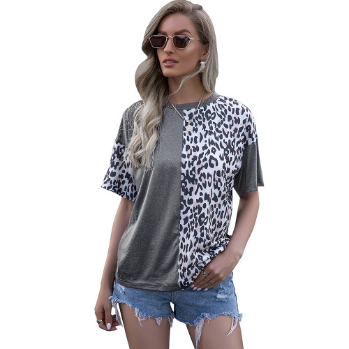 Gray Splice Leopard Short Sleeve Tops TQK210600-11
