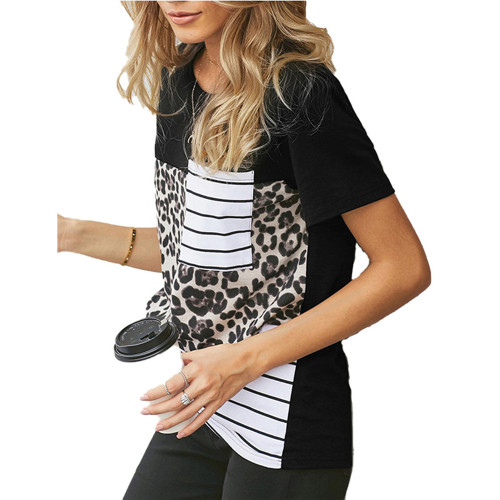 Leopard Print Splice Striped Pocket T-Shirt TQK210601-20