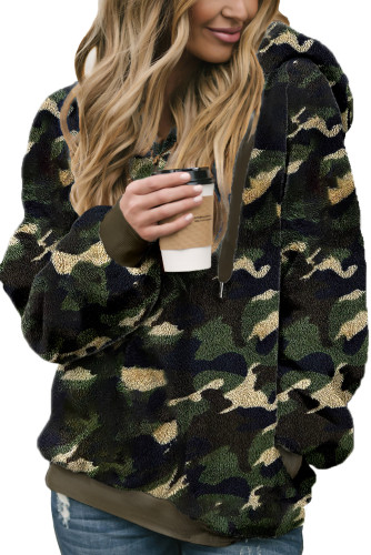 Green Camo Print Warm Furry Pullover Hoodie LC2532008-9