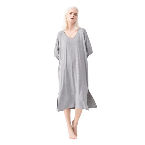 Flower Ash Modal Sides Split Pajamas Dress TQE90128-220
