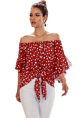 Red Polka Dot 3/4 Bell Sleeve Off Shoulder Front Tie Knot Top LC252344-3