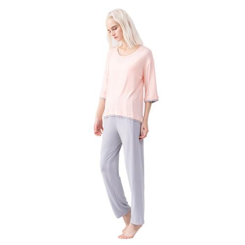 Light Pink Modal Fake Double Decker Pajamas Set TQE90127-39