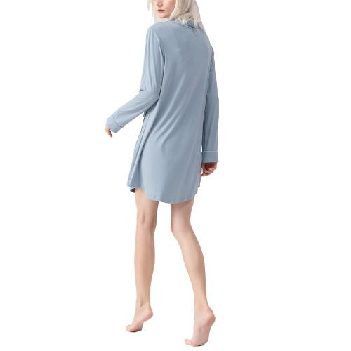 Blue Cotton Long Shirt Style Pajama Dress TQE90122-5