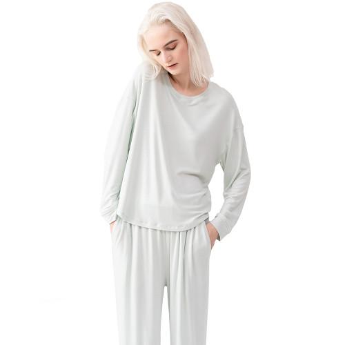 Light Green Cotton Long Sleeve Pajamas Set TQE90123-28