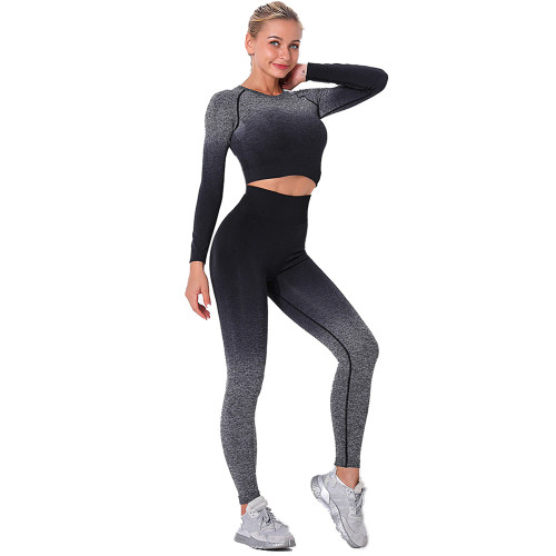 Black Gradient Long Sleeve Sports Set TQE00131-2