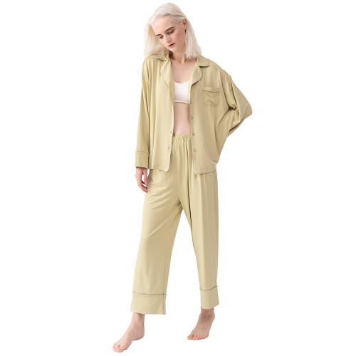 Olive Green Cotton Long Sleeve Shirt Pajamas Set TQE90121-52