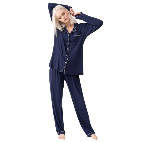 Navy Blue Button Long Sleeve Loungewear Pajamas Set TQE90124-34