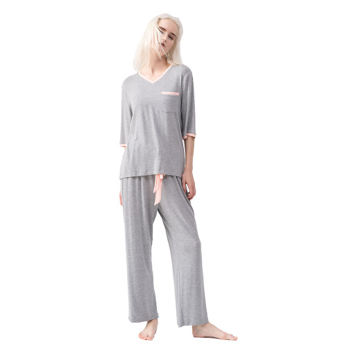 Flower Ash Modal Pocket Top with Drawstring Pant Loungewear TQE90126-220