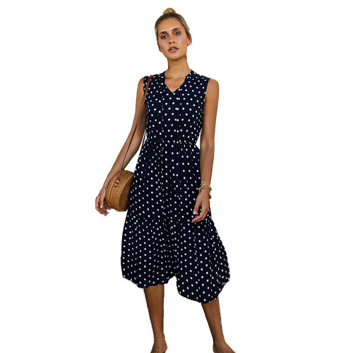 Navy Blue Polka Dot Sleeveless Fashion Dress TQK310470-34