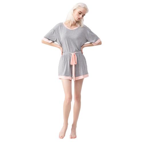 Flower Ash Drawstring Pajamas Short Set TQE90130-220