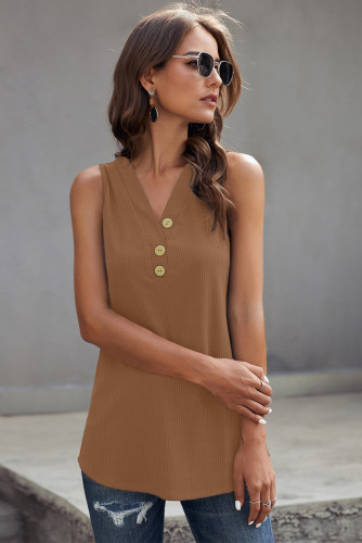Brown Just Say The Word 3 Button Tank Top LC253080-17
