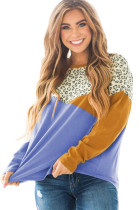 Leopard Color Block Splicing Long Sleeve Top LC2513350-5